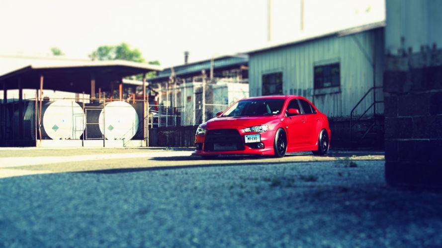 red cars Mitsubishi Lancer Evolution X wallpaper