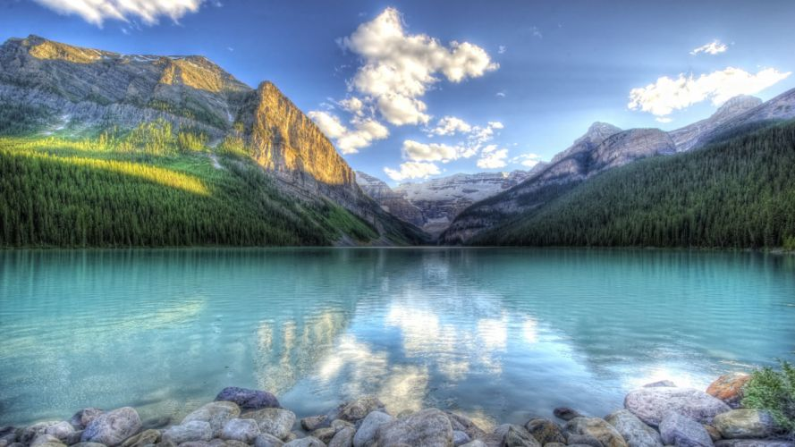 mountains landscapes nature trees forest lakes HDR photography land wallpaper
