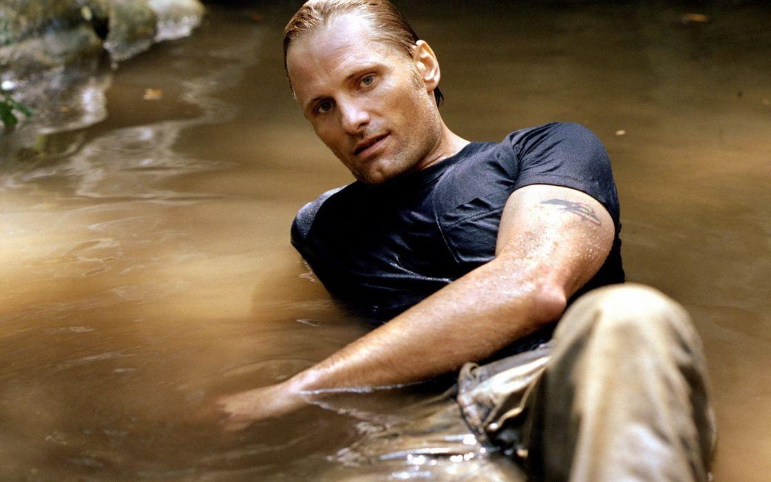 tattoos water men Viggo Mortensen actors wet clothing wet hair wallpaper