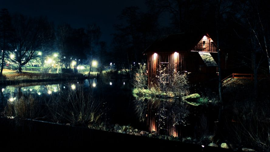 water landscapes winter night buildings Canon TagNotAllowedTooSubjective wallpaper