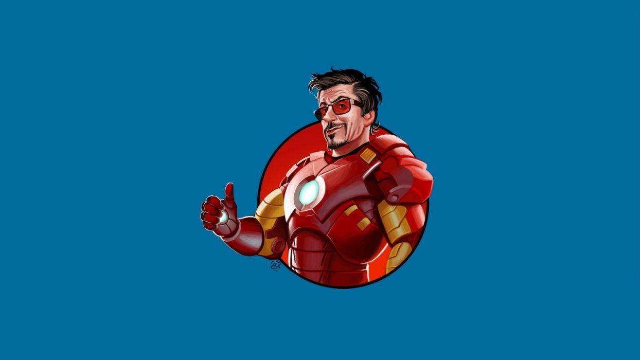 minimalistic Iron Man sunglasses Tony Stark thumbs up blue background wallpaper