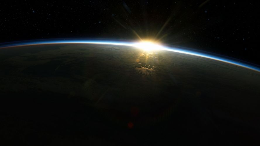 sunrise Sun outer space Earth atmosphere wallpaper