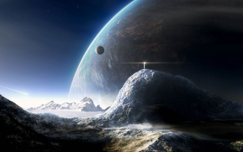 planets lighthouses wallpaper