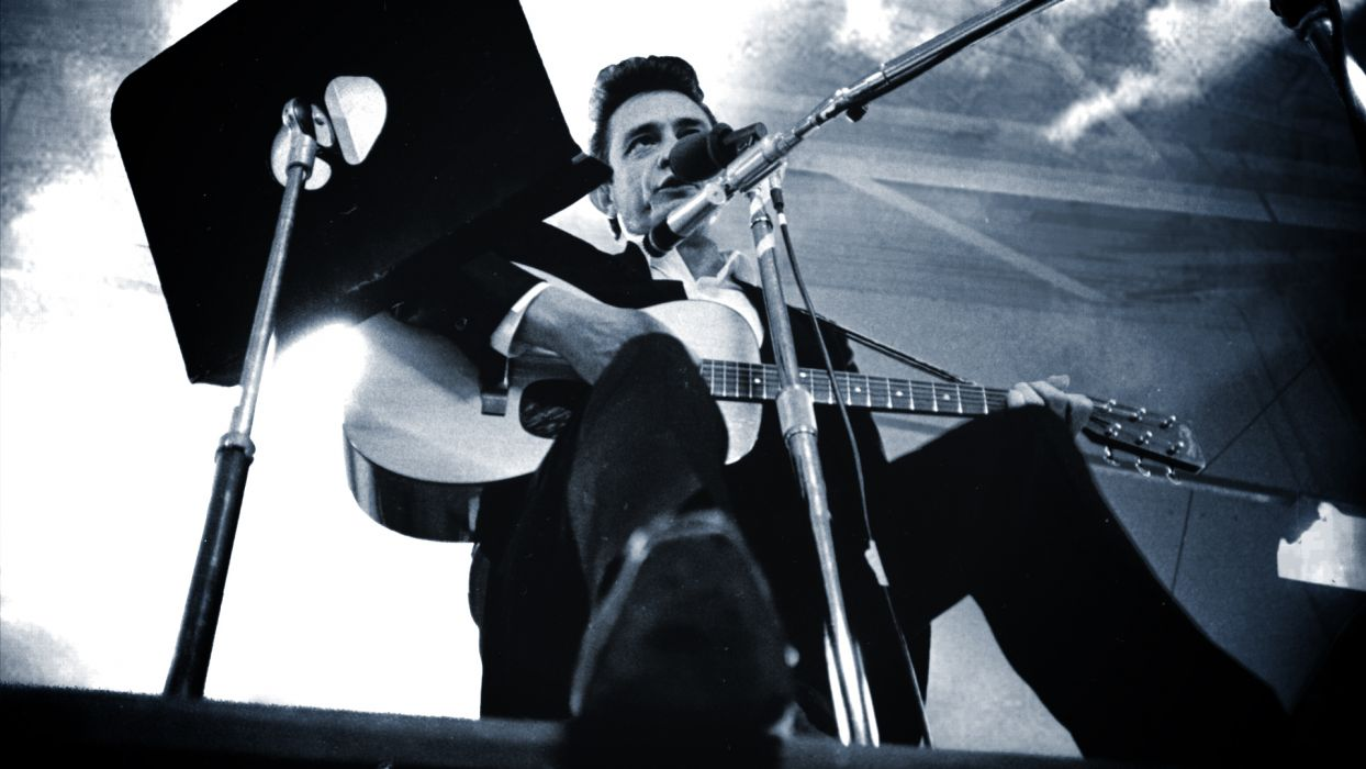 music men grayscale guitars Johnny Cash low-angle shot wallpaper