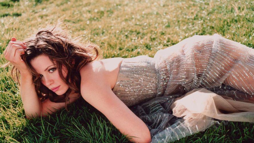 brunettes women grass Kate Beckinsale outdoors wallpaper