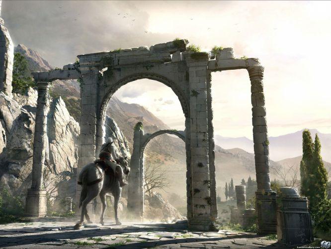 mountains Assassins Creed Altair Ibn La Ahad assassins gates horsemen wallpaper