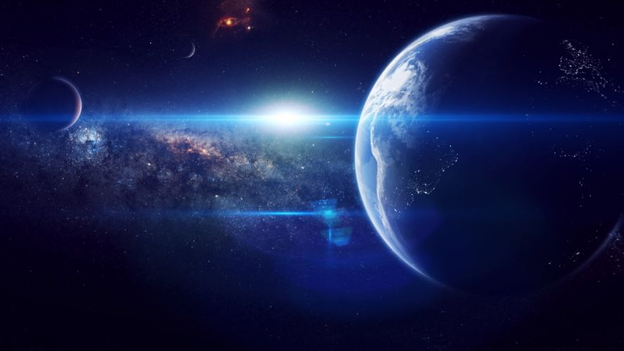 outer space stars explosions planets Earth supernova wallpaper