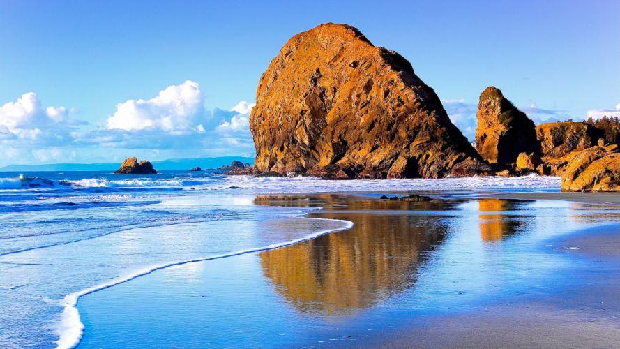 landscapes beach rocks wallpaper