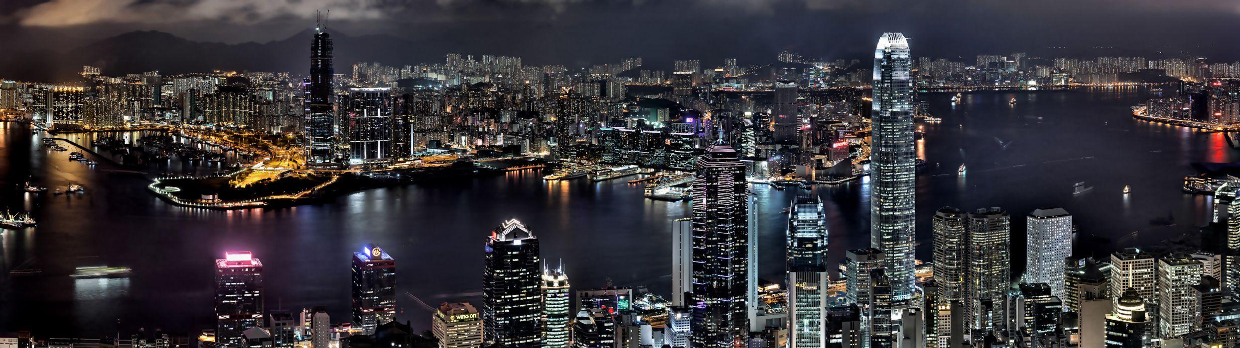 cityscapes night buildings Hong Kong wallpaper