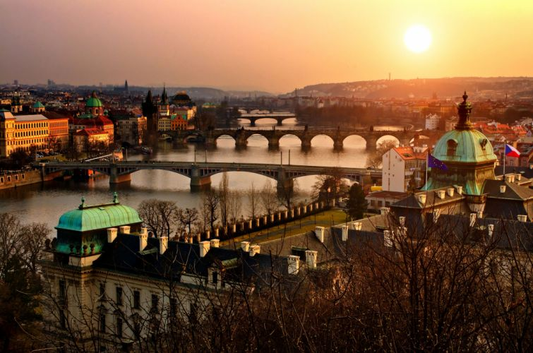cityscapes old Czech history flags town Prague rivers wallpaper
