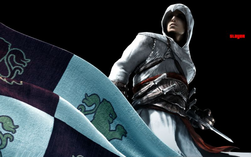Assassins Creed Altair Ibn La Ahad assassins flags Xbox 360 Playstation 3 hidden blade wallpaper