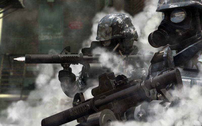 soldiers guns gas masks wallpaper