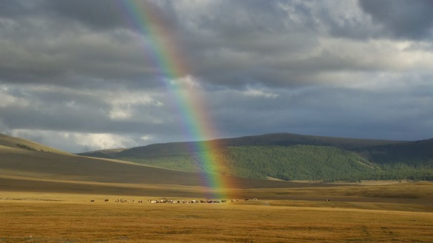 clouds landscapes nature rainbows wallpaper