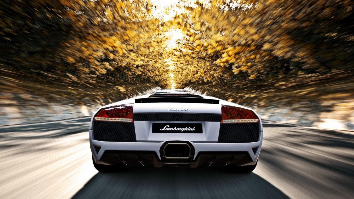 video games autumn (season) cars Lamborghini roads Gran Turismo vehicles motion blur Lamborghini Murcielago Gran Turismo 5 blurred speed wallpaper