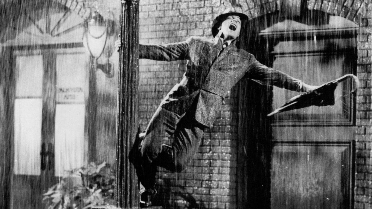 Movies Rain Models Grayscale Umbrellas Singing Singing In The Rain