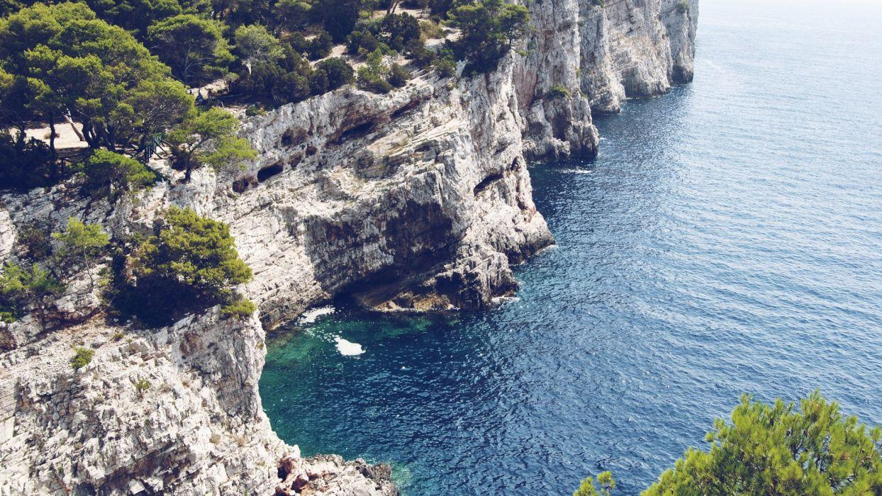 cliffs Croatia sea wallpaper