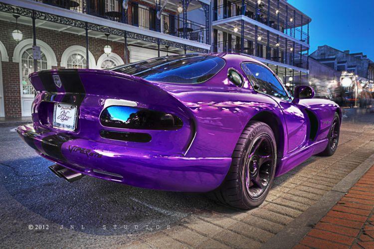 streets cars purple viper Dodge vehicles Dodge Viper tuning New Orleans Dodge Viper GTS bourbon cities wallpaper