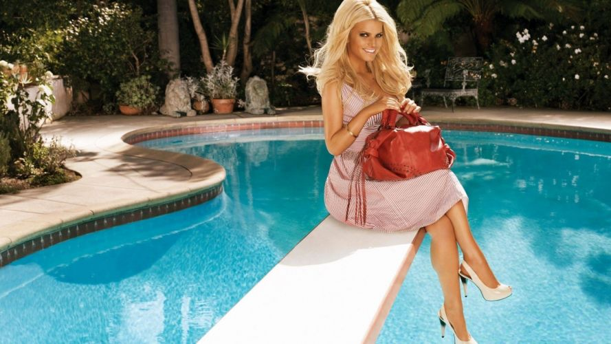 blondes women high heels Jessica Simpson swimming pools diving board wallpaper