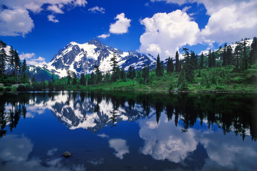 mountains clouds landscapes forest wallpaper