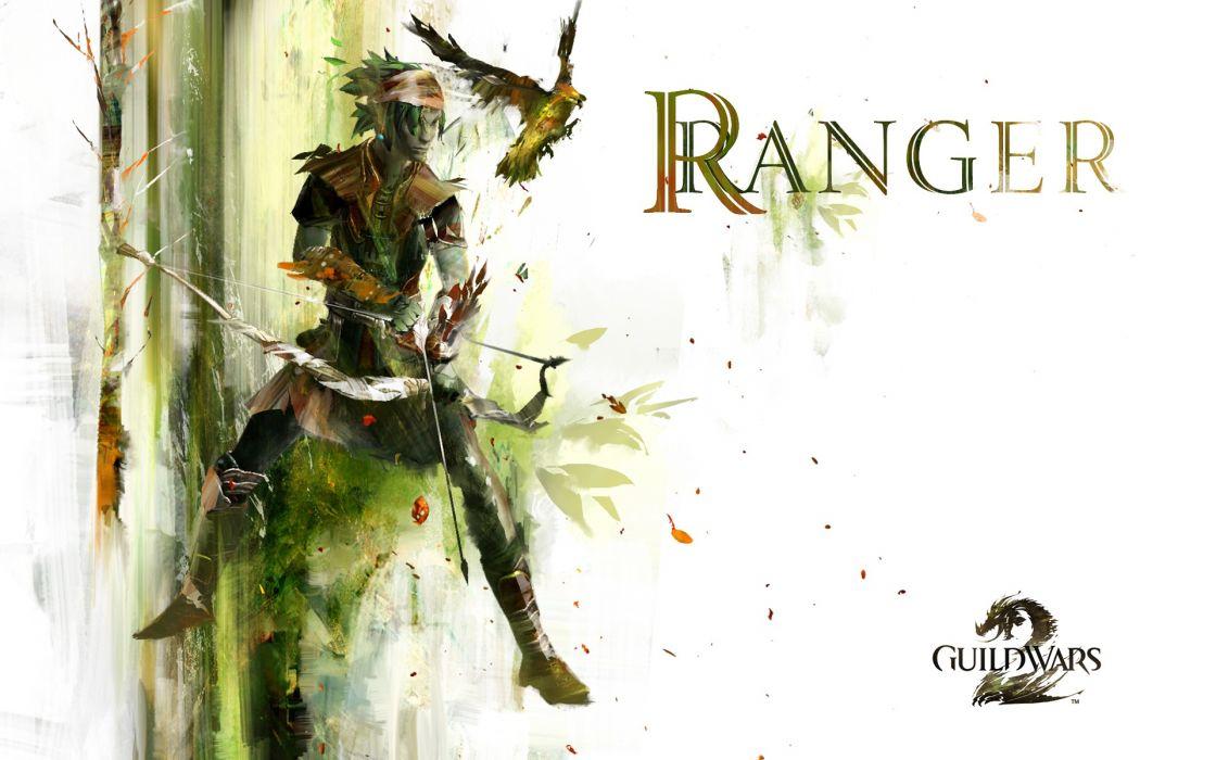 video games birds fantasy art Guild Wars 2 bow (weapon) wallpaper