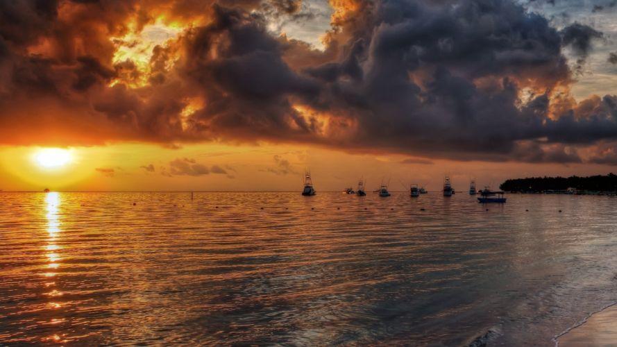 sunset clouds beach boats wallpaper