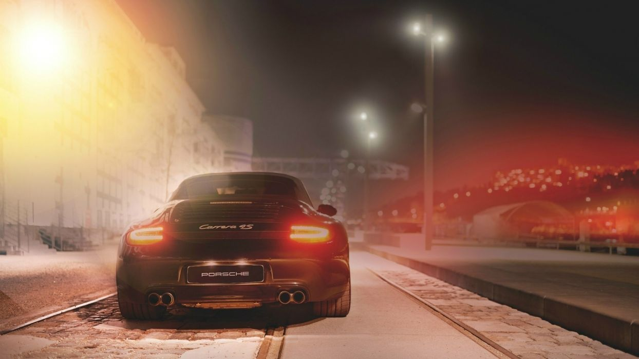 night Porsche cars urban vehicles Porsche 911 Carrera wallpaper