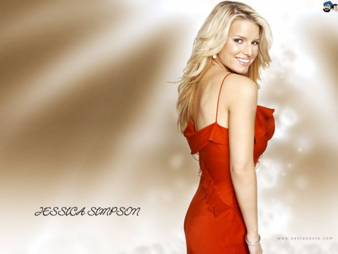 blondes women Jessica Simpson smiling singers red dress wallpaper