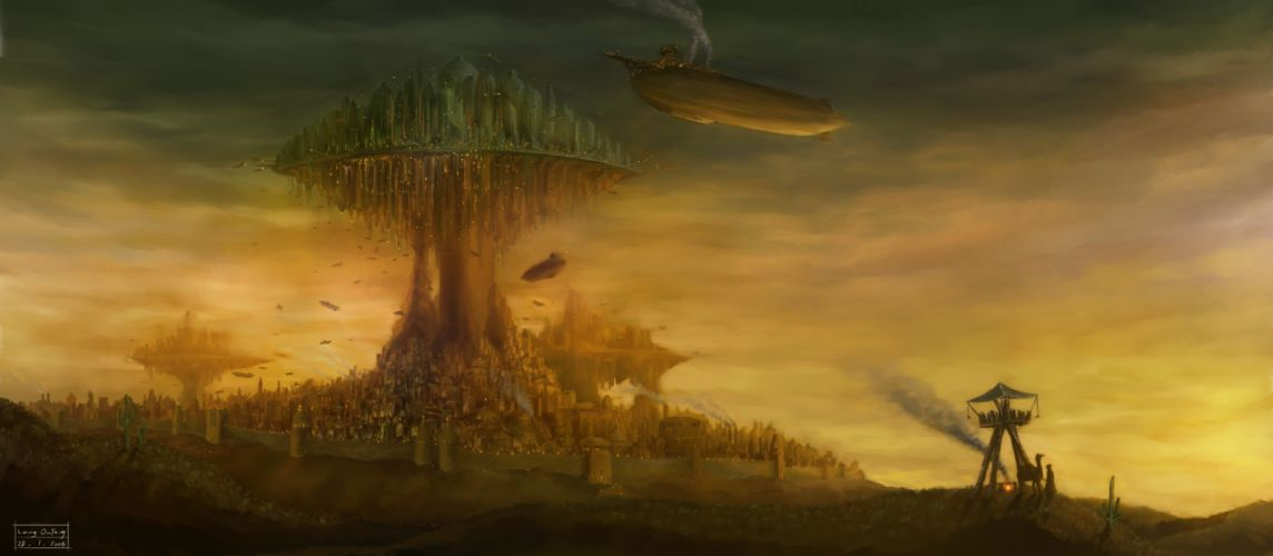 blimps aircrafts airplanes fantasy cities steampunk wallpaper