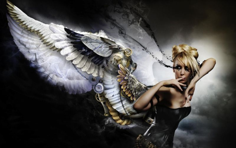 Blonde Angel Steampunk Wings blondes women females girls sexy babes wallpaper