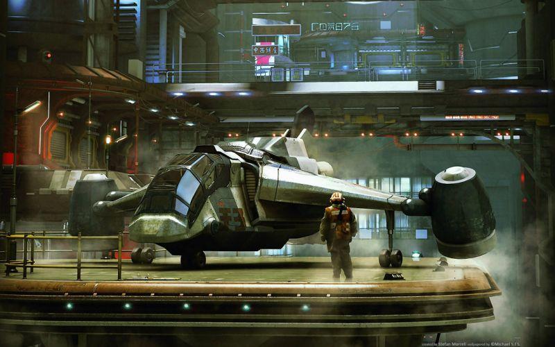 aircraft vtol fantasy art science fiction artwork wallpaper