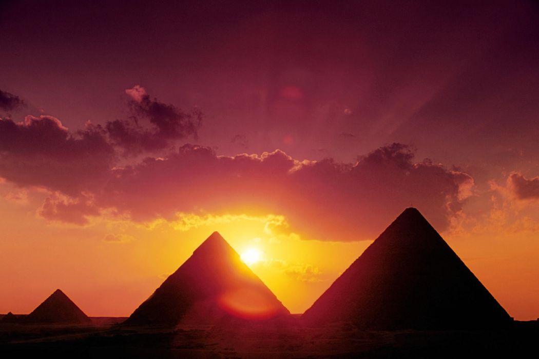 sunset landscapes nature Egypt Giza pyramids Great Pyramid of Giza wallpaper