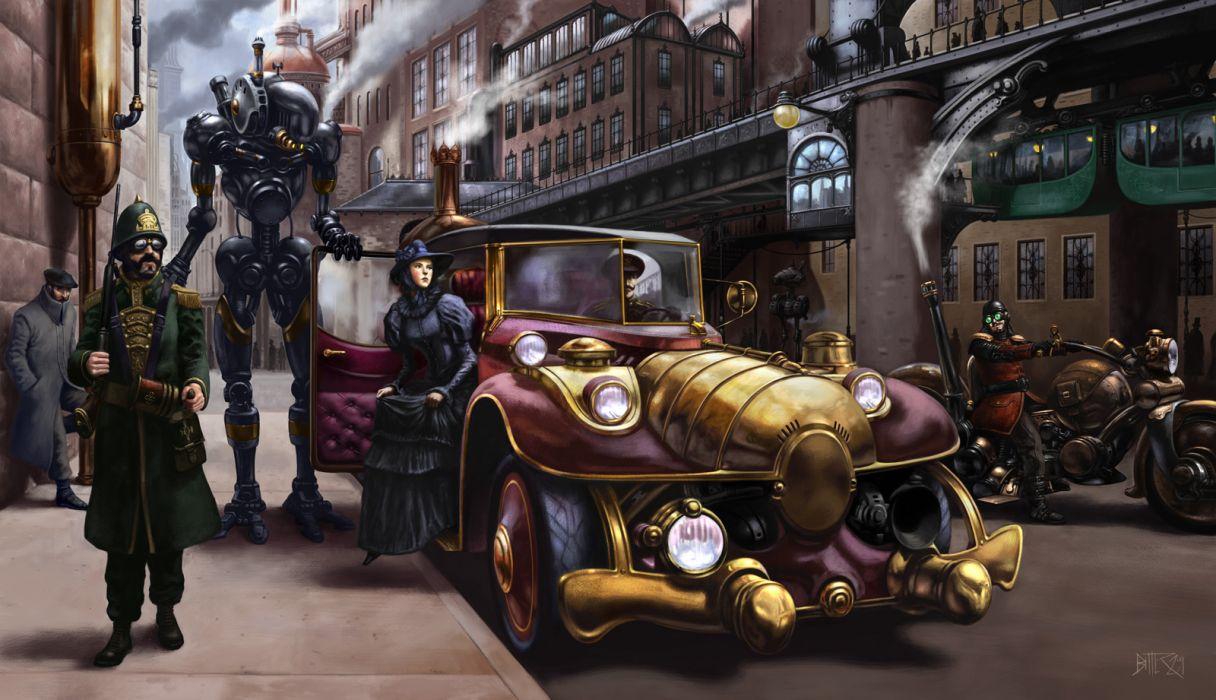steampunk mechanical cars robots wallpaper