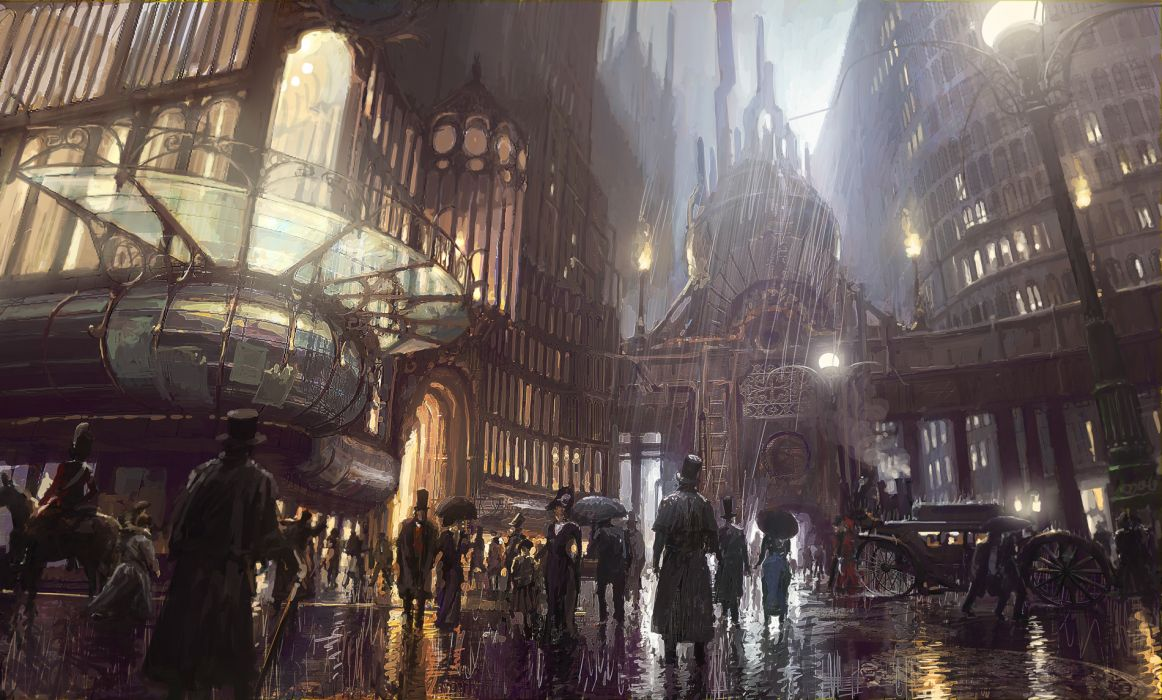 steampunk mechanical cities rain drops storm crowds people roads wallpaper