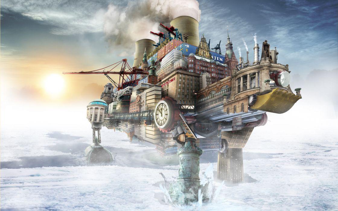 steampunk mechanical cities ships wallpaper