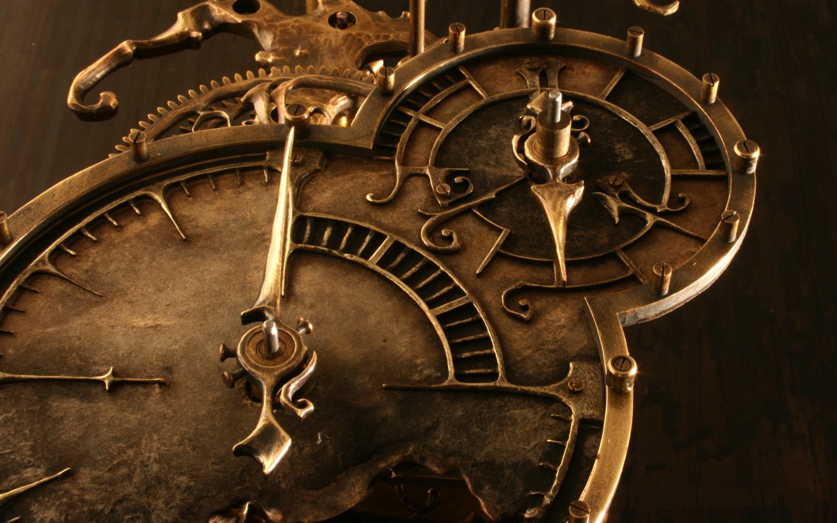 steampunk mechanical clock watch bokeh e wallpaper