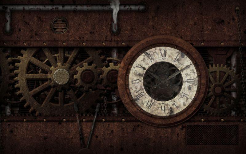 steampunk mechanical clock watch bokeh gears wallpaper