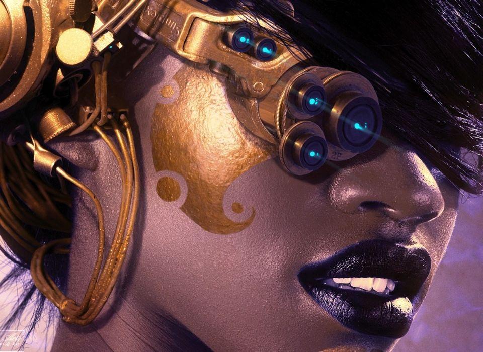 steampunk mechanical cyborg robots women females girls face lips eyes wallpaper
