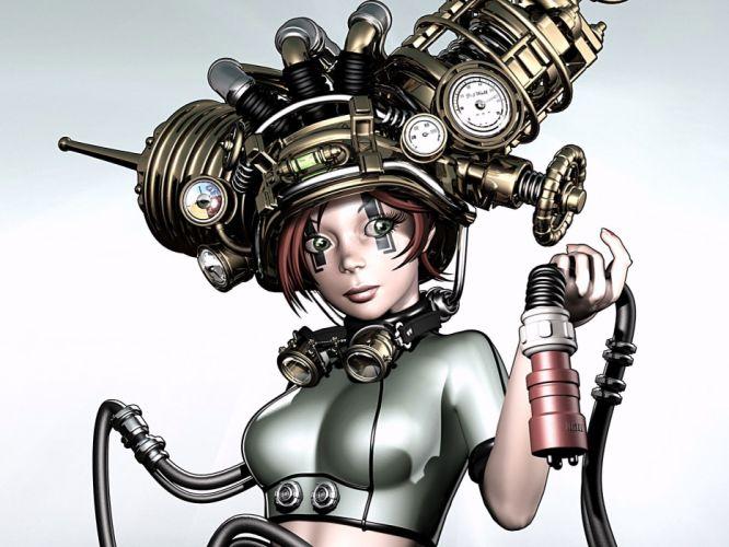 steampunk mechanical cycborgs robots women females girls babes face eyes wallpaper
