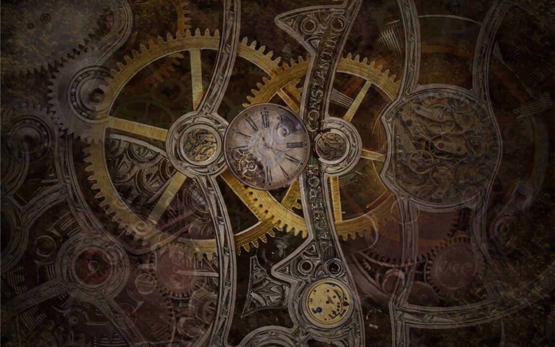 steampunk mechanical gears cloock watch wallpaper
