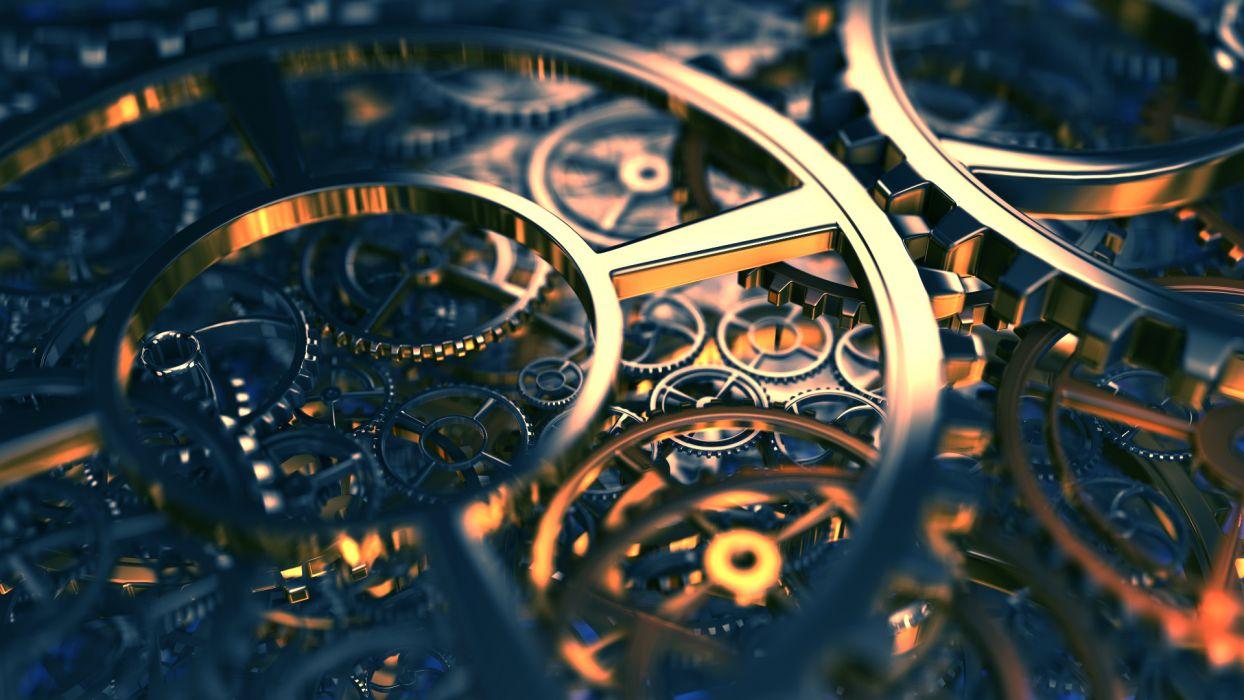 steampunk mechanical gears reflection wallpaper