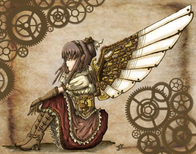 steampunk mechanical girl angels wallpaper