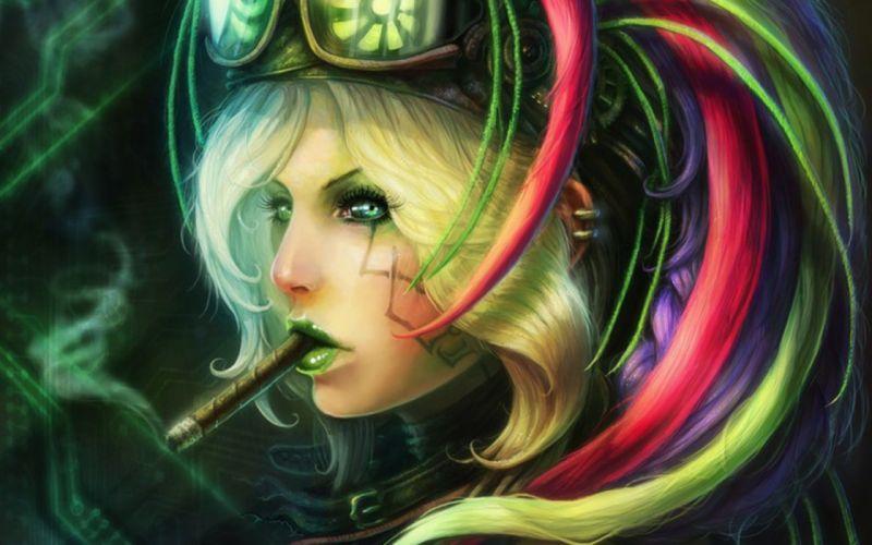 steampunk mechanical goggles glasses women females girls face smoking wallpaper