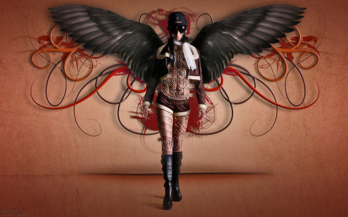 steampunk mechanical goggles wings angels gorhic women females girls sexy babes legs cleavage cyborgs robots wallpaper