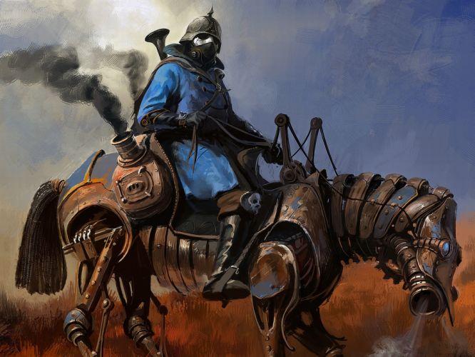 steampunk mechanical horse r wallpaper