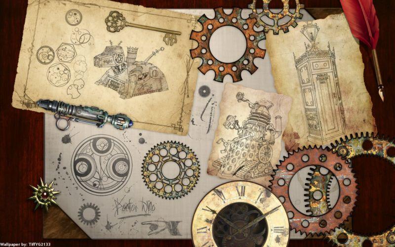 steampunk mechanical maps clock watch gears wallpaper