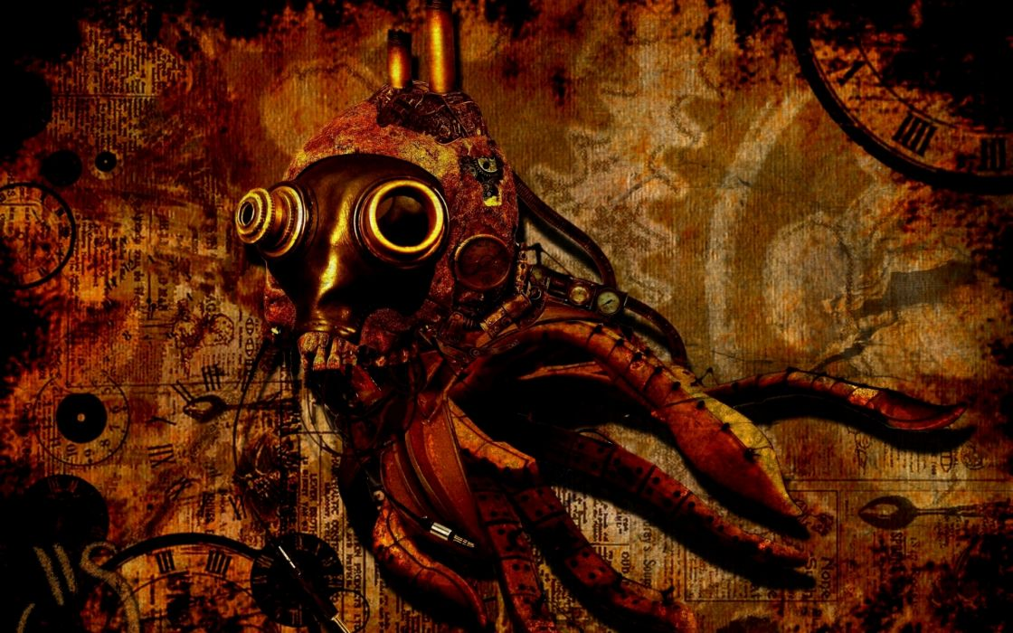 steampunk mechanical mask dark wallpaper