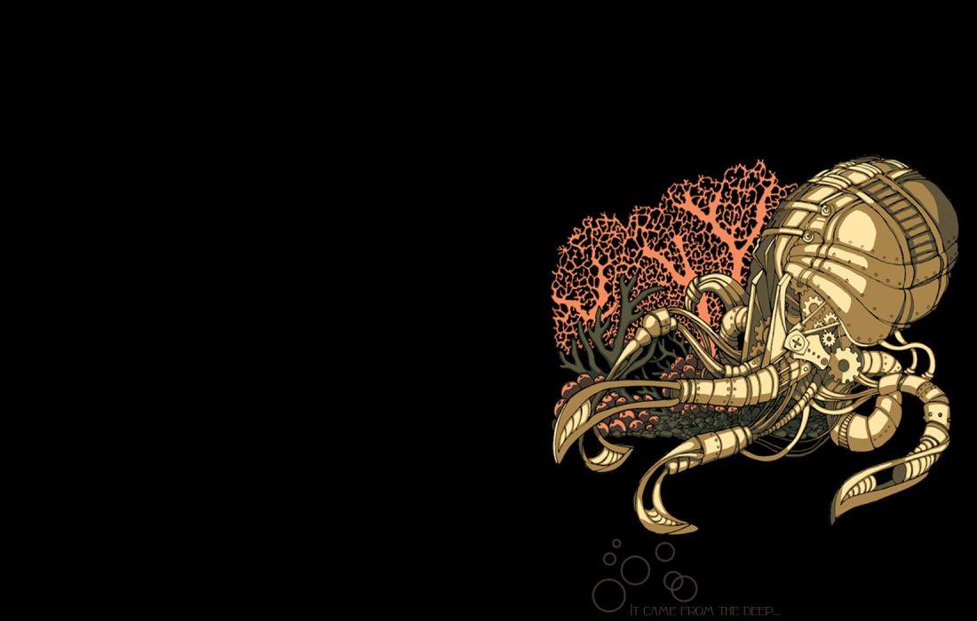 steampunk mechanical octopus animals robots wallpaper
