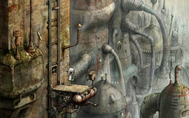 steampunk mechanical robots cities wallpaper