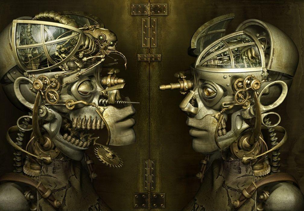 steampunk mechanical robots cyborgs gears wallpaper