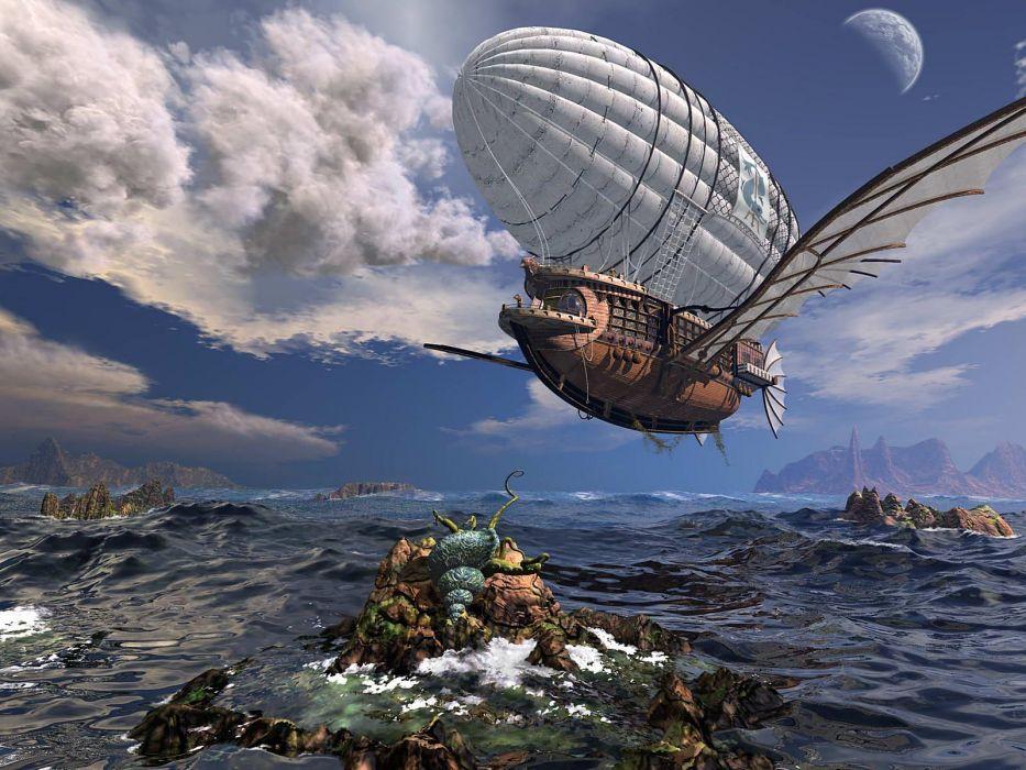 steampunk mechanical ship fantasy ocean sea flight clouds wallpaper